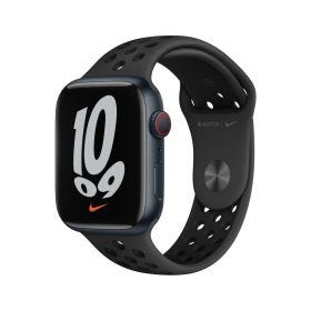 Apple Watch Nike Series 7 GPS + Cellular, 45mm Midnight Aluminium Case with Anthracite/Black Nike Sport Band - Regular