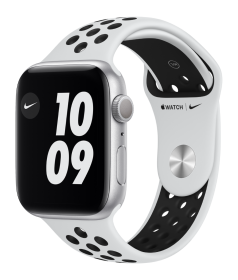 Apple Watch Nike Series 6 GPS, 44mm Silver Aluminium Case with Pure Platinum/Black Nike Sport Band -