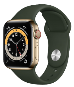 Apple Watch Series 6 GPS + Cellular, 44mm Gold Stainless Steel Case with Cyprus Green Sport Band - R