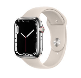 Apple Watch Series 7 GPS + Cellular, 41mm Silver Stainless Steel Case with Starlight Sport Band - Regular