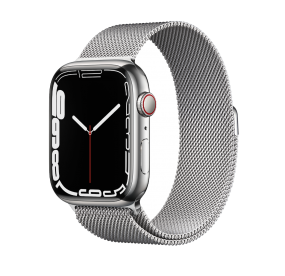 Apple Watch Series 7 GPS + Cellular, 41mm Silver Stainless Steel Case with Silver Milanese Loop