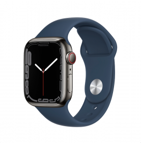 Apple Watch Series 7 GPS + Cellular, 41mm Graphite Stainless Steel Case with Abyss Blue Sport Band - Regular