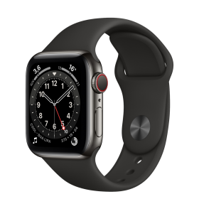 Apple Watch Series 6 GPS + Cellular, 40mm Graphite Stainless Steel Case with Black Sport Band - Regu