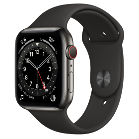 Apple Watch Series 6 GPS + Cellular, 44mm Graphite Stainless Steel Case with Black Sport Band - Regu